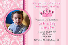 30 Personalized Princess Birthday Party Photo Invitations Card Pink Damask Crown