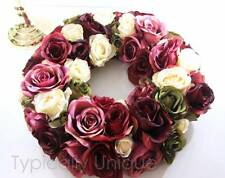 WINTER WEDDING TABLE CENTRE PIECE ARTIFICIAL SILK FLOWER DEEP PINK IVORY ROSE