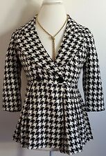 Forever Twentyone Womens Jacket Coat Size S Houndstooth Black White Lined