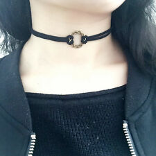 90's Black Velvet Charm Choker Bib Necklace Gothic Punk Handmade Retro Jewelry