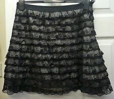 Ladies Atmosphere Black Lace Skirt Grey Lining Short Mini Party Size 10