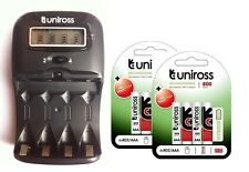 UNiROSS LCD 1-2 HOUR AA/AAA CHARGER & 8 x AAA 800 Series Hybrio Rechargeables