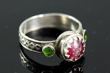Afghan Kuchee Tribal Antique Sterling Silver Ring. Green Red Glass. size US 8