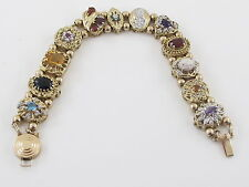 10k Yellow Gold Multi Color Diamond Gemstones Cameo Vintage Charm Slide Bracelet