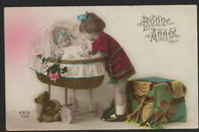 MB1772 LITTLE GIRL , TEDDYBEAR AND BABY IN CRADLE , RPPC HAND. COL 1925
