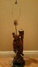 Vintage Carved Wood Rosewood Asian / Chinese Fisherman Lamp
