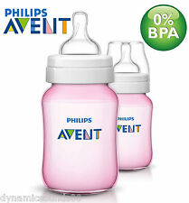 Philips Avent Classic+ Pink Baby Feeding Bottle Pack of 2 x 260ml/9oz SCF564/27