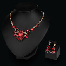 Fashion Gem Crystal Necklace Set Dubai Gold Plated Wedding Bridal Jewelry Sets