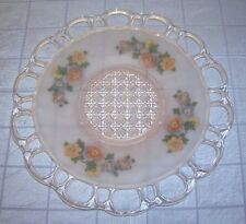 VINTAGE PINK SATIN FROSTED DEPRESSION GLASS PLATE WITH FLOWERS