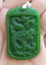 Sculpté vert chinois jade ovale dragon pendentif collier collection