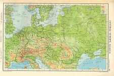1952 MAP ~ CENTRAL EUROPE PHYSICAL ~ GERMANY DENMARK HUNGARY SWITZERLAND ROMANIA