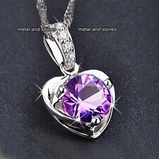 ELEGANT Amethyst Crystal Heart Silver Necklace Promise Gifts For Her Wife Women