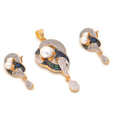 Indian Pearl Ad Cz Jade New Design Handmade Silver Gold Plated Pendant Set 6688