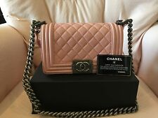 100% Authentic New Chanel quilted light pink lambskin leather small boy bag