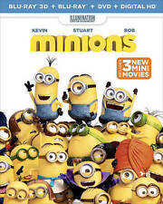 Minions (3D,Blu-ray + DVD + Digital HD) Family Movie, Free Shipping, New/Sealed