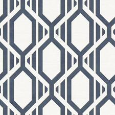 Wallpaper Modern Retro Diamond Geometric Trellis Navy Blue Gold on Off White