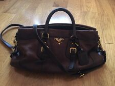 Auth Prada Brown Calfskin Leather Shoulder Handbag
