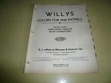 1938 Willys DuPont Pyralux Color Chip Paint Sample - Vintage