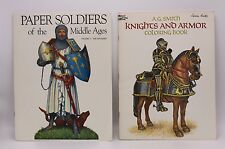 (2) Paperback KNIGHTS ARMOR COLORING & PAPER SOLDIERS MIDDLE AGES Craft Book