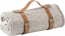 Wool Travel / Picnic Blanket With Leather Carrier Taupe & Cream RRP £139.00