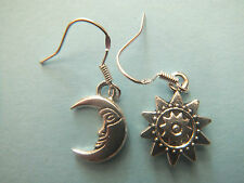 SEXY HANDMADE STERLING/TIBETAN SILVER SUN & MOON EARRINGS GIFT BAG WICCAN RETRO