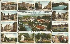 Glatz, Schlesien, alte Ansichtskarte von 1915 mit 13 Abbildungen
