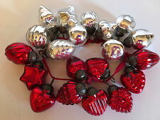SOFT RED & SILVER Mercury Glass Kugel Style Miniature CHRISTMAS Ornaments.  20