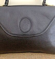 MARK CROSS Black Pebbled Leather Brass Hardware Murphy Satchel Handbag
