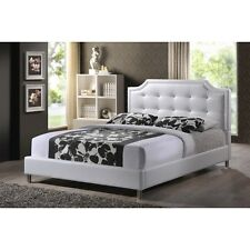 Baxton Studio Carlotta White Modern Bed with Upholstered Headboard-Queen NEW