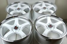 15 Drift white wheels rims MX5 Protege Sebring Fiero Talon Sunfire 5x100 5x114.3