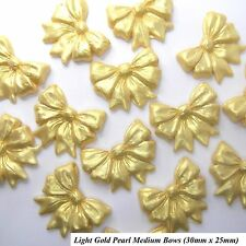 12 Gold Pearl Medium Sugar Bows edible golden wedding christmas cake decorations