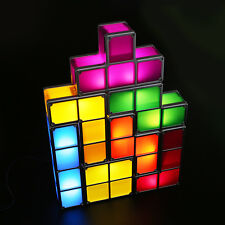 DIY Tetris Constructible Game Desk Lamp Retro Blocks Stackable LED Decor Light