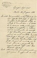 Lettera Autografa su Carta Intestata Notaio Giuseppe Mira Milano da Budrio 1884