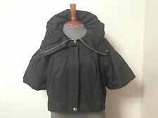 Vintage ELLE Black Puff Sleeve Bolero Crop Jacket Cotton Blend Lined Blazer XL