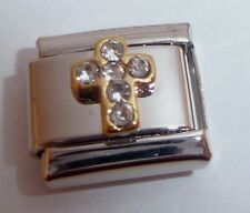 CROSS w/ CLEAR GEMS 9mm Italian Charm fits Classic Bracelets Faith Love Hope