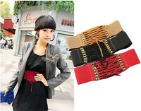 Fashion Women Vintage Rivet Elastic Buckle Wide Waist Belt Waistband Corset - LD