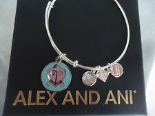 Alex and Ani THE WAY HOME Shiny Silver Finish Charm Bangle New W/Tag Card & Box