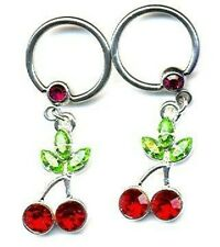 Body Accentz® Nipple Ring Cherry Captive Bead Body Jewelry Pair 14g pair