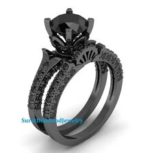 Certified 3.14ct Black Diamond Engagement Ring Set Bridal Set Ring in 10K GOLD