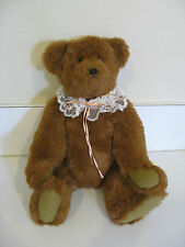 "JOINTED PLUSH TEDDY BEAR HANDCRAFTED 19"" - BROWN w/LACE COLLAR"