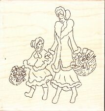 VINTAGE CHRISTMAS SHOPPING FQ215 - Wood Mounted Rubber Stamp - Funstamps