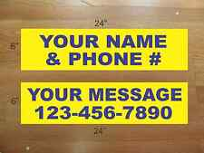 """10 6""""x24"""" Yellow & Blue REAL ESTATE NAME RIDER SIGNS CUSTOM LOWEST PRICE NEW"""