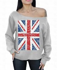 Union Jack vintage WOMAN OFF SHOULDER SWEATER UK Flag ENGLAND Great Britain