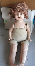 "Vintage 1930s Composition Cloth Girl Character Doll 21"" Tall"