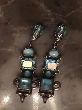 Kirks folly jewelry ART DECO  CARIBBEAN BLUE  Earrings.