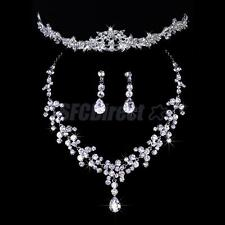 Bridal Wedding Jewelry Set Crystal Rhinestone Necklace Earrings Tiara Headpiece