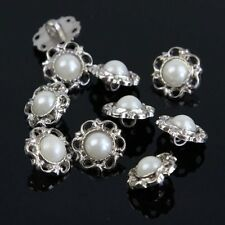 Lot 40 Resin Ivory Pearl Flower Shank  Buttons Sewing Craft Embellishment 18mm