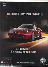Publicité 2014 - ALPHA ROMEO 4C
