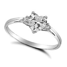 .925 Sterling Silver Ring size 3 CZ Heart Kids Midi Ladies Clear White New x24