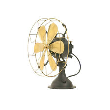 "12"" Blades Electric Table Fan Oscillating Work Vintage Metal Brass Antique style"